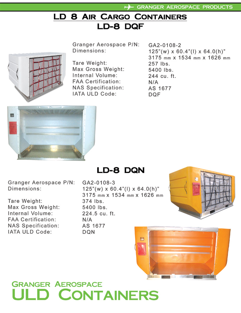 LD 8 Air Cargo Container Information, LD 8, ULD 8, DQF, DQN, Granger Aerospace